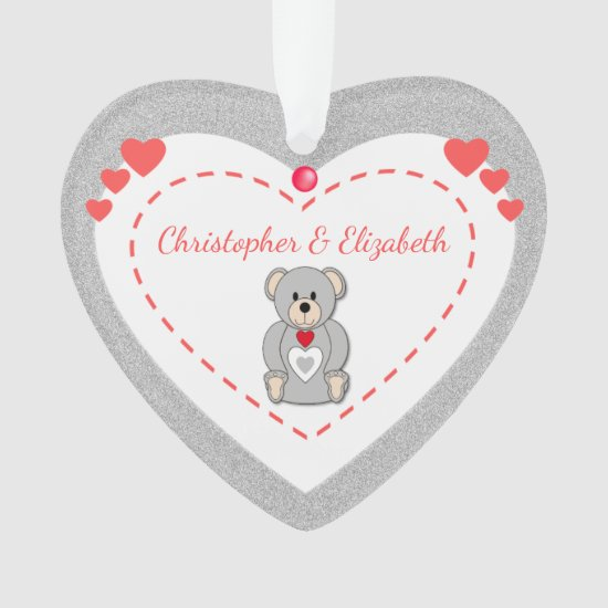 Teddy Bear Love Heart Ornament