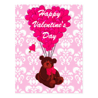 Teddy bear love heart Valentines Postcard