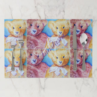 TEDDY BEAR LOVE MONOGRAM PARTY PAPER PLACEMAT