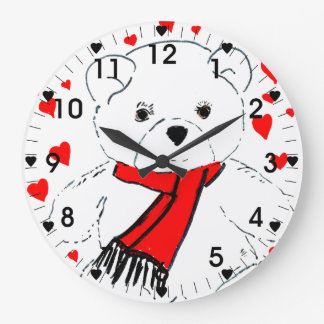 Teddy Bear Love - Red and White Large Clock