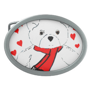Teddy Bear Love - Red and White Oval Belt Buckle