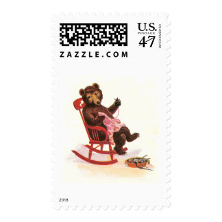 Teddy Bear Mends Clothes Postage Stamp