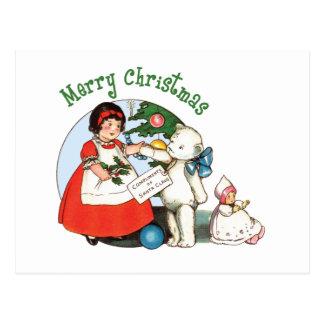 Teddy Bear Merry Christmas Postcard