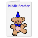 teddy bear middle brother greeting card