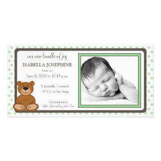 Teddy Bear Mint Customized Birth Announcement