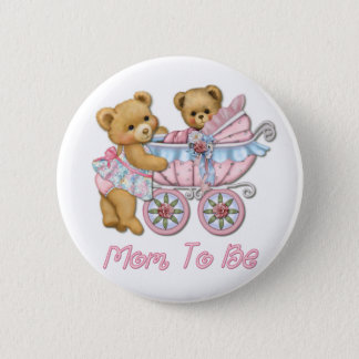 Teddy Bear Mom and Carriage - Pink Button