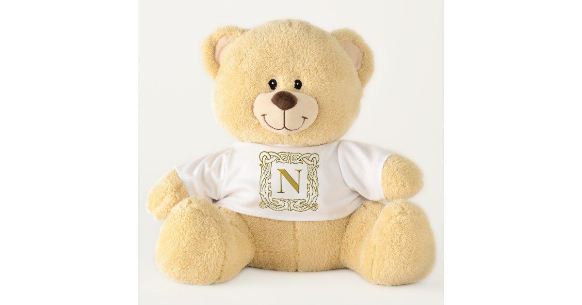 Teddy Bear - Monogram N - Celtic Dragon Frame | Zazzle.com