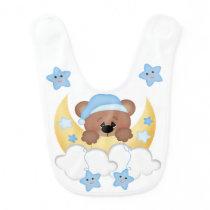 Teddy Bear Moon Star Babys Boy Woodland Animals Baby Bib