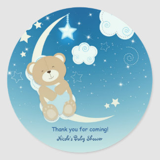 Teddy Bear Moon & Stars Baby Shower Custom Favor Classic Round Sticker