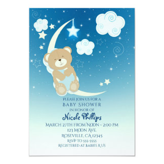 Teddy Bear Moon & Stars Baby Shower Invitations