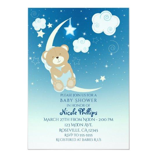 Teddy Bear Moon Stars Baby Shower Invitations Zazzlecom