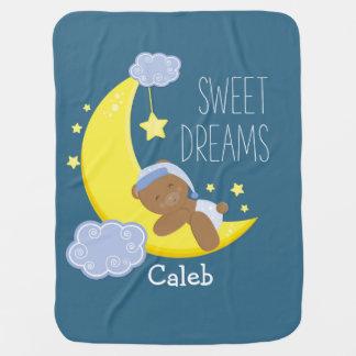 Teddy Bear Moon & Stars Celestial Baby Blanket