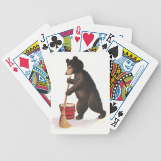 Teddy Bear Mopping Floor Bicycle Playing Cards
