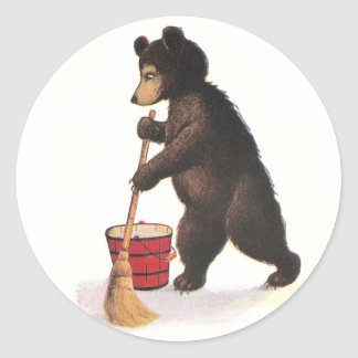 Teddy Bear Mopping Floor Classic Round Sticker
