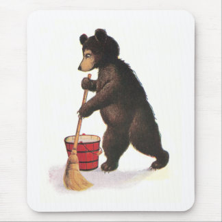 Teddy Bear Mopping Floor Mouse Pad