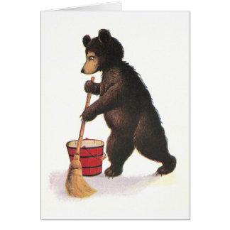 Teddy Bear Mops Floor Greeting Card