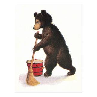 Teddy Bear Mops Floor Postcard