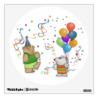 Teddy Bear, Mousie, Balloons & Glitter Wall Decal