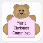 Teddy Bear Name Sticker (Pink)