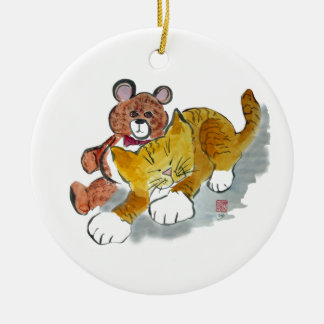 Teddy Bear Nap -Sweet Dreams Tiger Ceramic Ornament