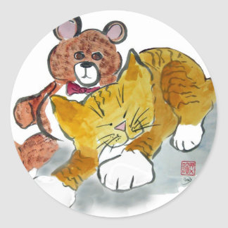 Teddy Bear Nap -Sweet Dreams Tiger Classic Round Sticker