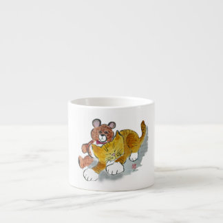 Teddy Bear Nap with Orange Tiger Kitten Espresso Cup