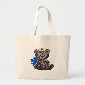 Teddy Bear Nurse (Blue) Tote Bags
