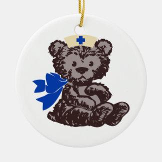 Teddy Bear Nurse (Blue) Christmas Tree Ornaments