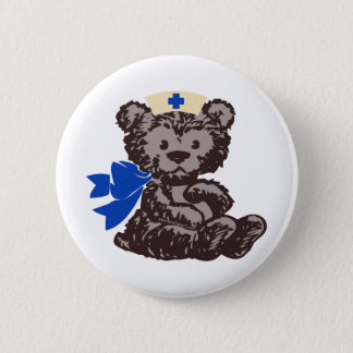 Teddy Bear Nurse (Blue) Pinback Button