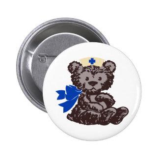 Teddy Bear Nurse (Blue) Pinback Button