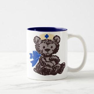 Teddy Bear Nurse (Blue) Two-Tone Coffee Mug