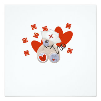 Teddy Bear Nurse Love Tshirts and Gifts 5.25x5.25 Square Paper Invitation Card