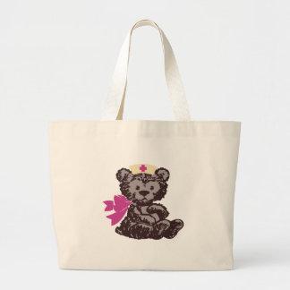 Teddy Bear Nurse (Pink) Tote Bags