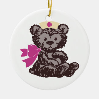 Teddy Bear Nurse (Pink) Double-Sided Ceramic Round Christmas Ornament
