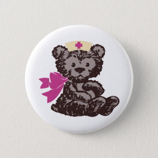 Teddy Bear Nurse (Pink) Pinback Button