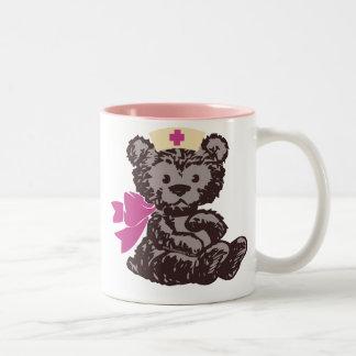 Teddy Bear Nurse (Pink) Two-Tone Coffee Mug