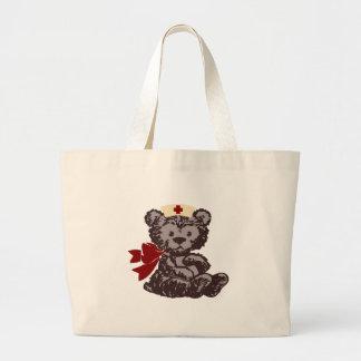 Teddy Bear Nurse (Red) Canvas Bags