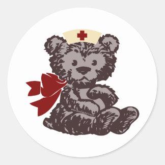 Teddy Bear Nurse (Red) Classic Round Sticker