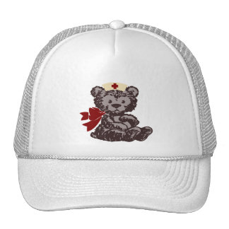 Teddy Bear Nurse (Red) Mesh Hats