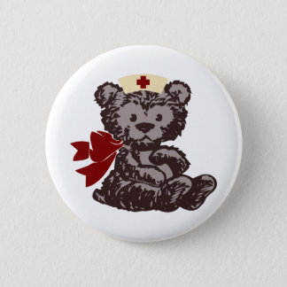 Teddy Bear Nurse (Red) Pinback Button