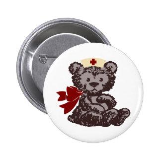 Teddy Bear Nurse (Red) Pinback Button
