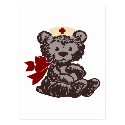 Teddy Bear Nurse (Red) Postcard