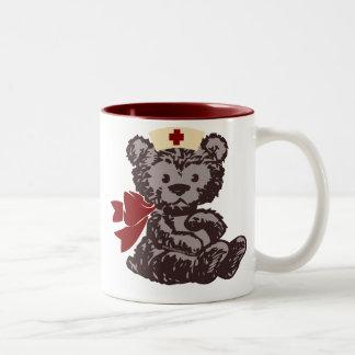 Teddy Bear Nurse (Red) Two-Tone Coffee Mug