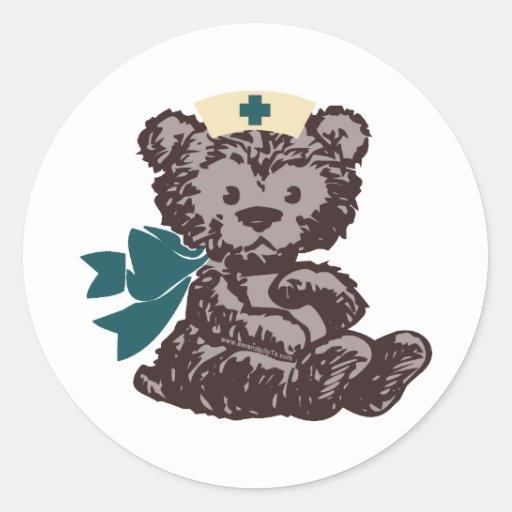 Teddy Bear Nurse (Teal) Classic Round Sticker