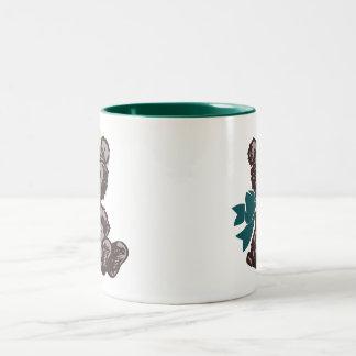 Teddy Bear Nurse (Teal) Two-Tone Coffee Mug