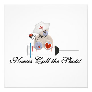 Teddy Bear Nurses Call the Shots T-shirts and Gift Personalized Invitations