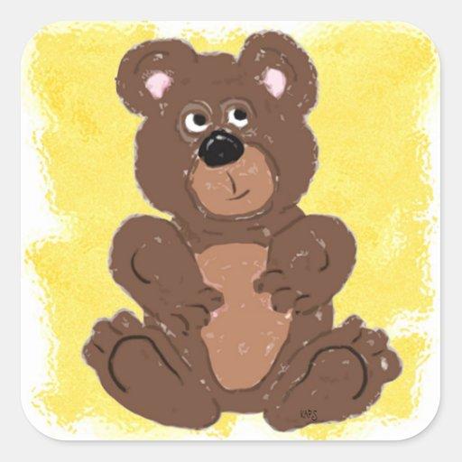Teddy Bear O2 (yellow) Square Sticker