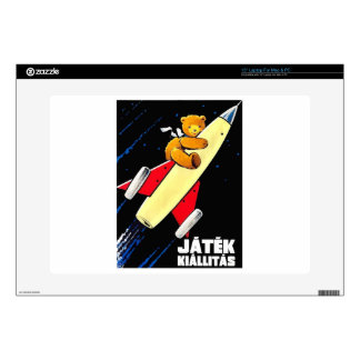 Teddy Bear On A Rocket Vintage Hungarian Toy Fair Decal For Laptop