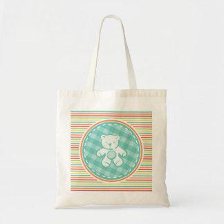Teddy Bear on Bright Rainbow Stripes Canvas Bags
