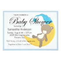 Teddy Bear on Crescent Moon Baby Shower Card